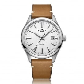 GS05092/02 Oxford Silver & Tan Leather Men's Watch