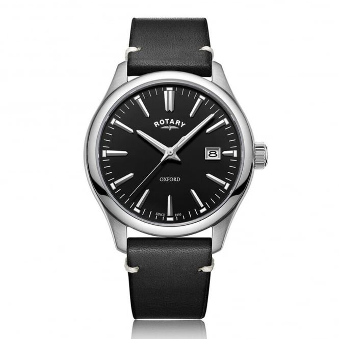 Rotary GS05092/04 Oxford Silver & Black Leather Men's Watch