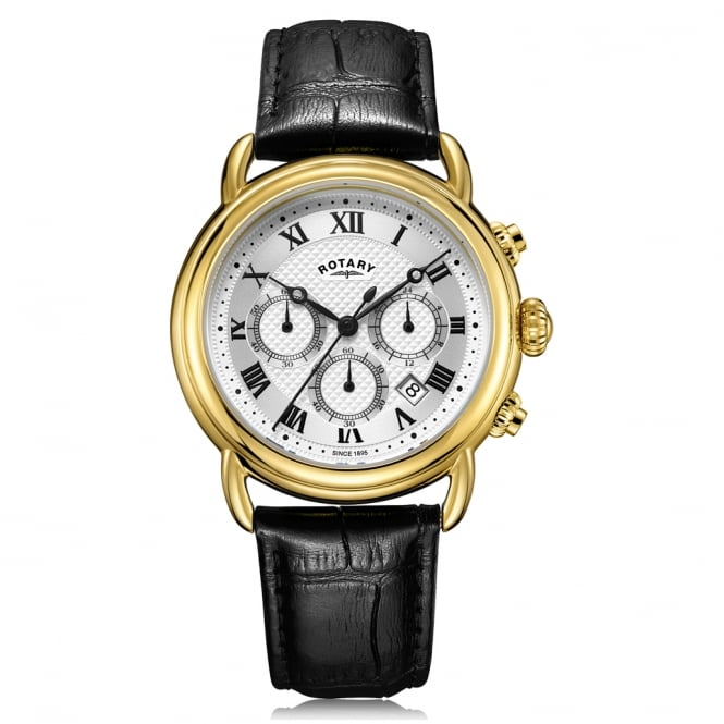 Rotary GS05333/21 Canterbury Gold & Black Textured Leather Chronograph Men's Watch