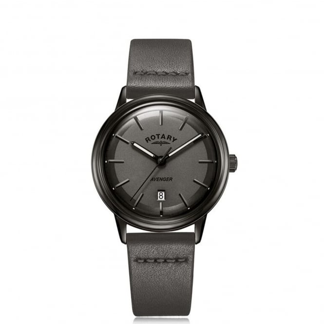 Rotary GS05345/20 Avenger Black & Grey Leather Men's Watch