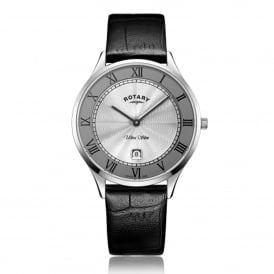 GS08300/21 Ultra Slim Silver & Black Textured Leather Men's Watch