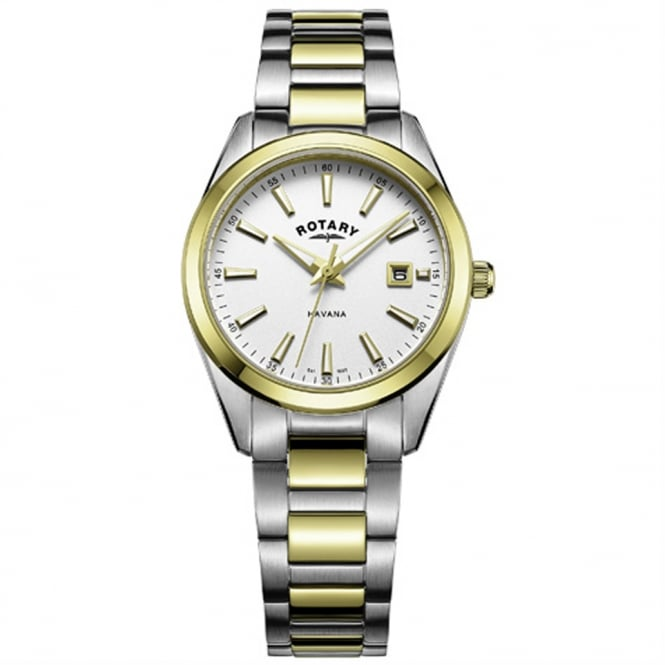 Rotary LB05080/02 Havana Ladies Silver & Gold Watch