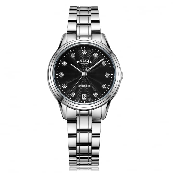 Rotary LB05258/13 Cambridge Black & Silver Stainless Steel Ladies Watch