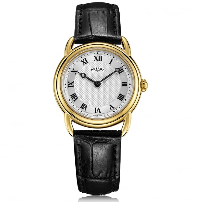 Rotary LS05338/21 Canterbury Gold & Black Leather Ladies Watch