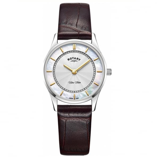 Rotary LS08300/02 Ultra Slim Silver, Mother of Pearl Dial & Brown Leather Ladies Watch