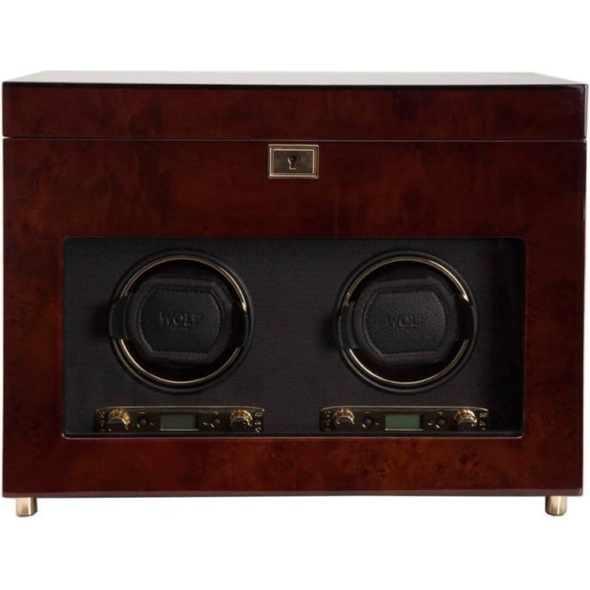 Wolf Designs Savoy Burlwood & Gold Double Watch Winder 2.7 with Storage