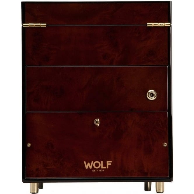 Wolf Designs Savoy Burlwood & Gold Single Watch winder 2.7 with Storage
