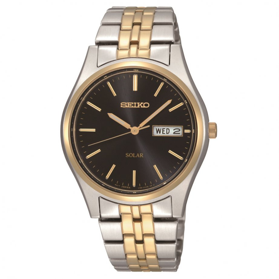 seiko sne034p1 two tone silver and gold gents