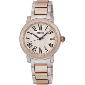 Seiko SRZ448P1 Stainless Steel & Rose Gold Ladies Quartz Watch