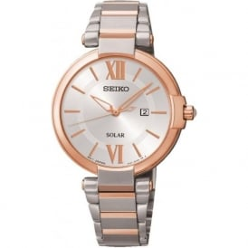 Seiko SUT156P1 Rose Gold & Silver Ladies Solar Watch