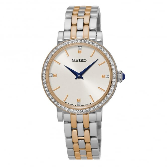 Seiko SFQ810P1 Swarovski Elements Two Tone Ladies Dress Watch