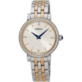 Seiko SFQ810P1 White & Two Tone Women's Dress Watch