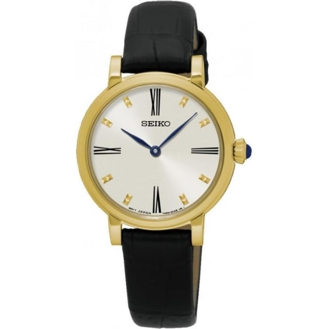 Seiko SFQ814P2 Gold & Black Textured Leather Ladies Watch