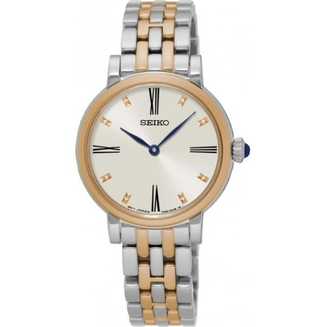 Seiko SFQ816P1 Rose Gold & Silver Stainless Steel Ladies Watch