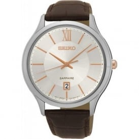 Seiko SGEH55P1 Cream & Brown Textured Leather Sapphire Watch