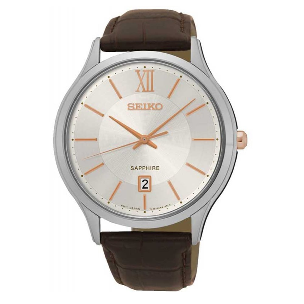 tic watches seiko sgeh55p1 sapphire crystal textured brown calf seiko sgeh55p1 sapphire crystal textured brown calf leather men s watch
