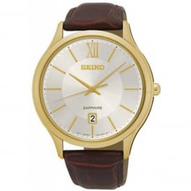 Seiko SGEH56P1 Textured Brown Calf Leather Men's Watch