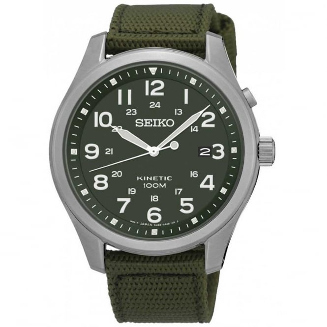 Seiko SKA725P1 Khaki Canvas Kinetic Men's Watch