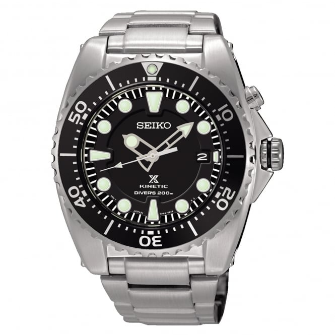 Seiko SKA761P1 Prospex Black & Silver Stainless Steel Kinetic Diver's Men's Watch