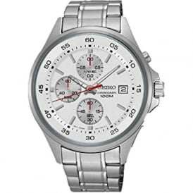 Seiko SKS473P1 White & Stainless Steel Men's Chronograph Watch