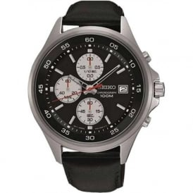 Seiko SKS485P1 Black Leather Men's Chronograph Watch