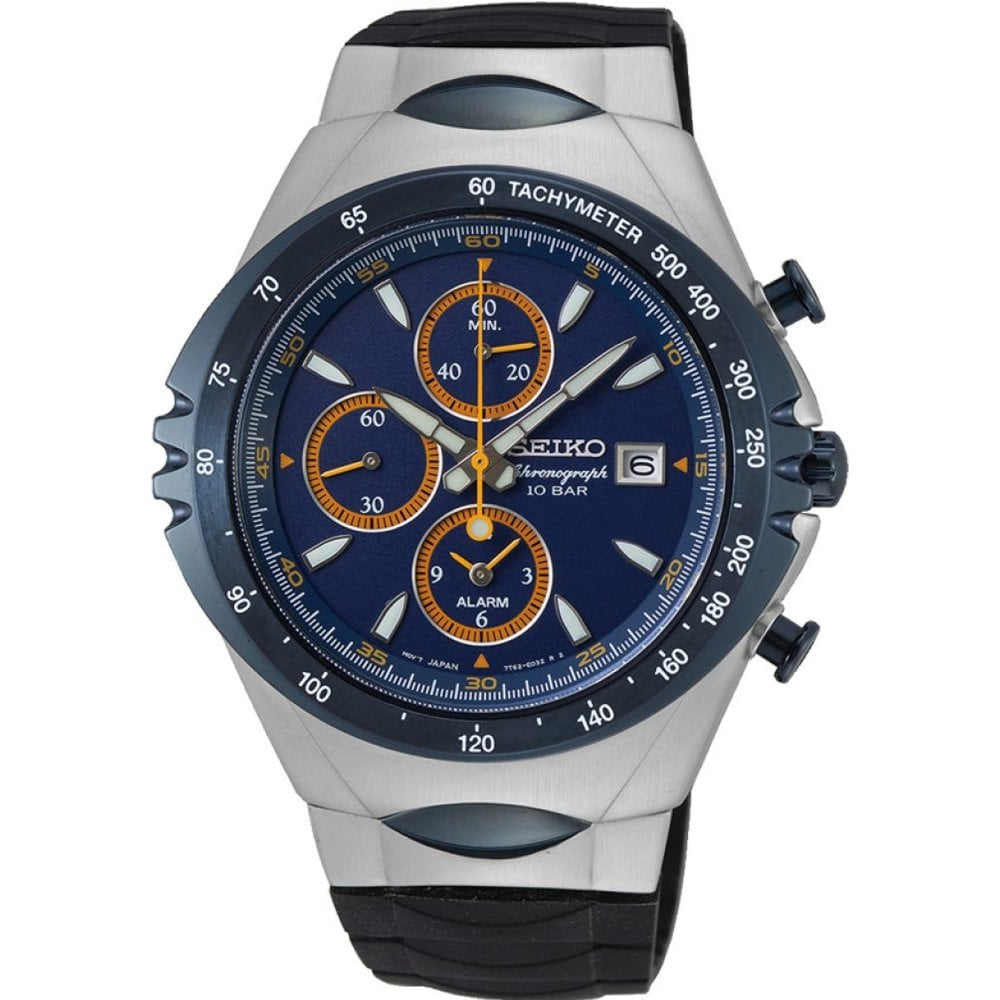 Seiko Snaf85p1 Macchina Sportiva Navy Blue Silver Black Silicone Chronograph Men S Watch