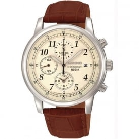 Seiko SNDC31P1 Chronograph Brown Leather Gents Watch