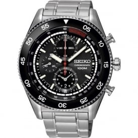 Seiko SNDG57P1 Black & Stainless Steel Chronograph Men's Watch
