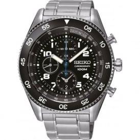 Seiko SNDG59P1 Black & Silver Stainless Steel Chronograph Mens Watch
