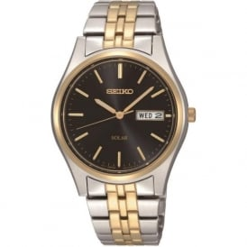 Seiko SNE034P1 Two Tone Silver & Gold Gents Solar Watch