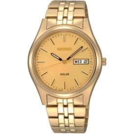 SNE036P1 Gold Plated Gents Solar Watch
