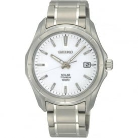 Seiko SNE139P1 Solar White & Titanium Men's Watch