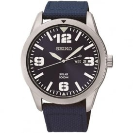 Seiko SNE329 Blue Nylon Gents Solar Watch