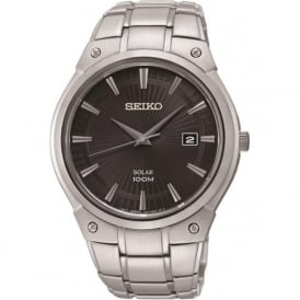 Seiko SNE341P1 Gents Silver & Black Solar Watch