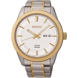 Seiko SNE364P1 Silver & Gold Tone Gents Solar Watch