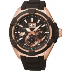 Seiko SNP104P1 Velatura Rose Gold & Black Silicon Kinetic Perpetual Calendar Mens Watch