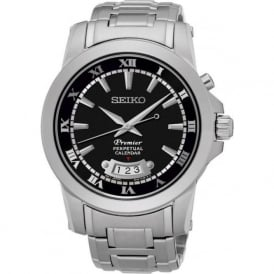 Seiko SNQ147P1 Black & Silver Stainless Steel Premier Perpetual Calendar Mens Watch