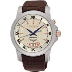 Seiko SNQ150P1 Cream & Brown Leather Men's Perpetual Calendar Watch