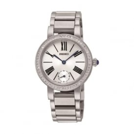 Seiko SRK027P1 Silver Stone Set Stainless Steel Ladies Watch