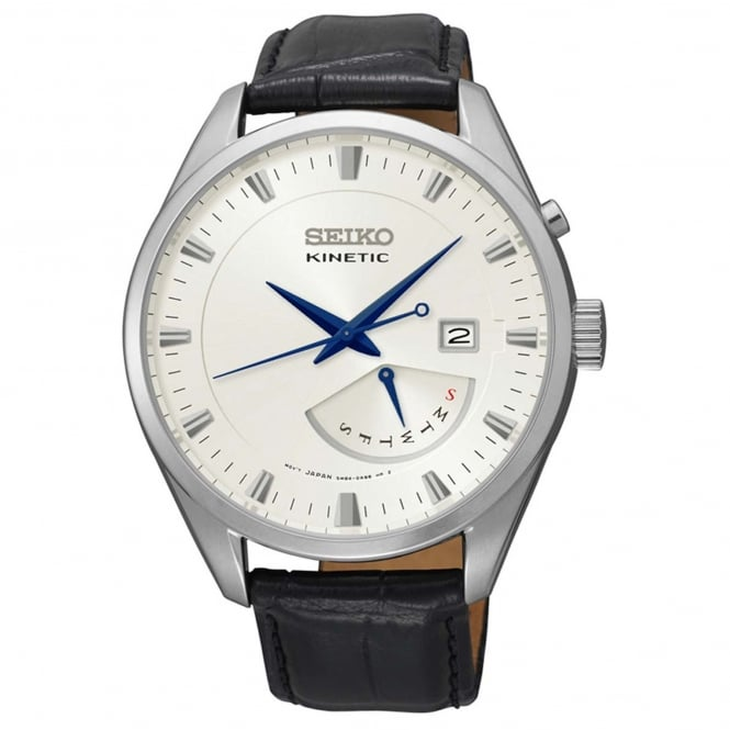 Seiko SRN071P1 Silver & Black Textured Calf Leather Kinetic Men's Watch
