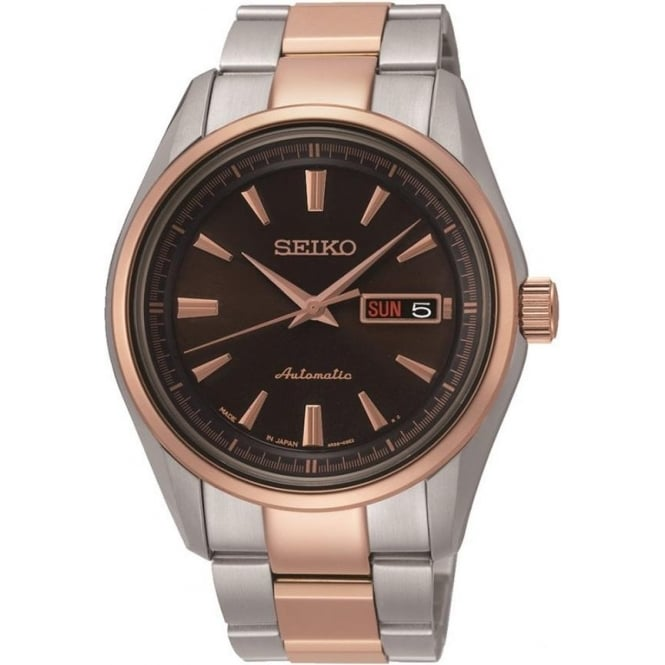 Seiko SRP536J1 Automatic Silver & Rose Gold Gents Watch