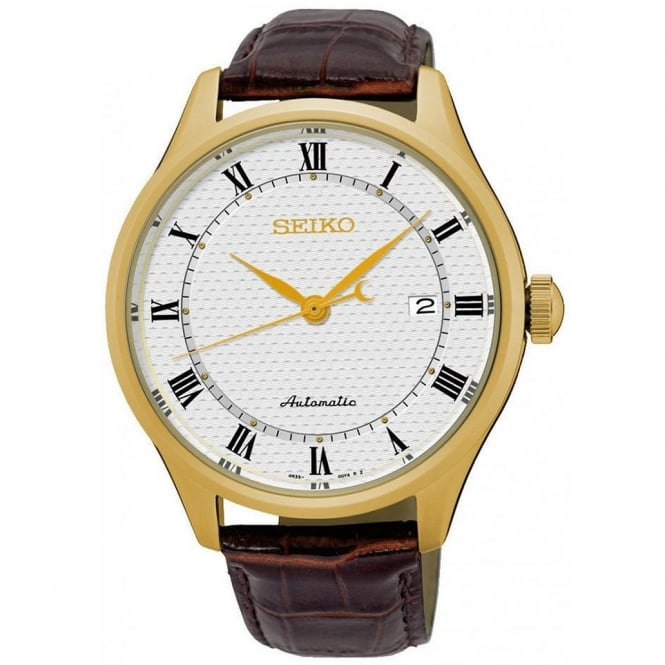 Seiko SRP770K1 Textured Brown Calf Leather Automatic Men's Watch