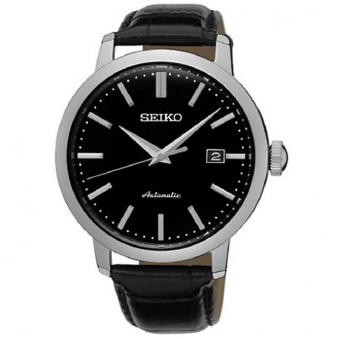 Seiko SRPA27K1 Textured Black Calf Leather Automatic Men's Watch