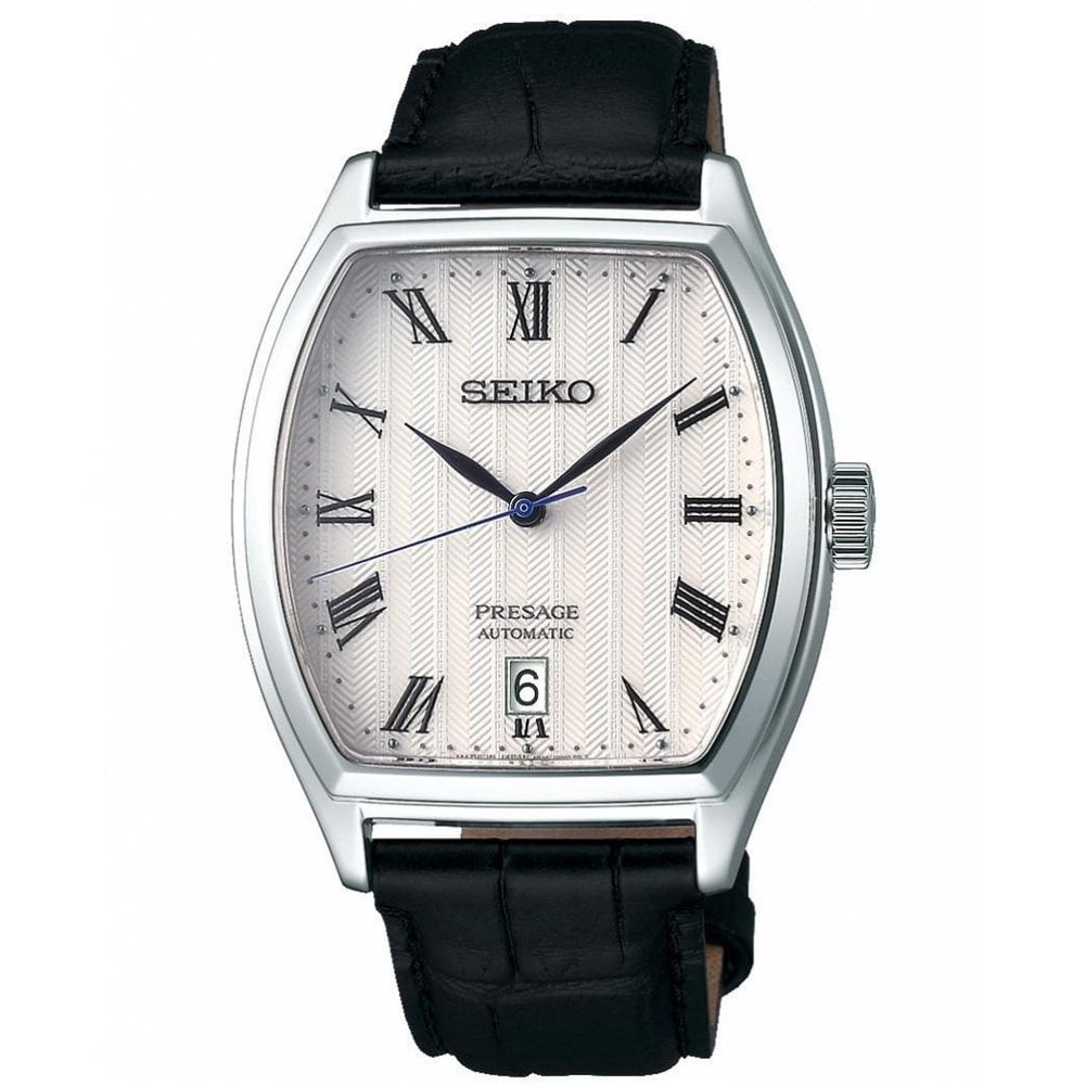Seiko Srpd05j1 Presage White Dial Silver Black Leather Automatic Men S Watch