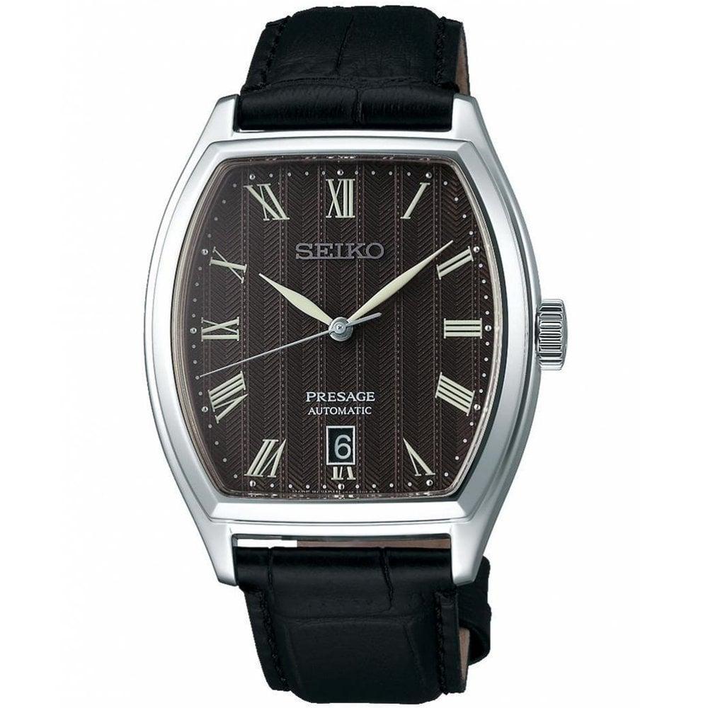 Seiko Srpd07j1 Presage Grey Dial Silver Black Leather Automatic Men S Watch