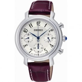 Seiko SRW875P2 Silver & Purple Leather Woman's Chronograph Watch