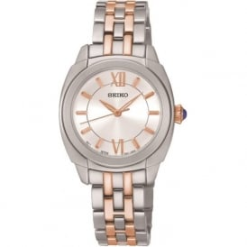 Seiko SRZ427P1 Silver & Rose Gold Ladies Quartz Watch
