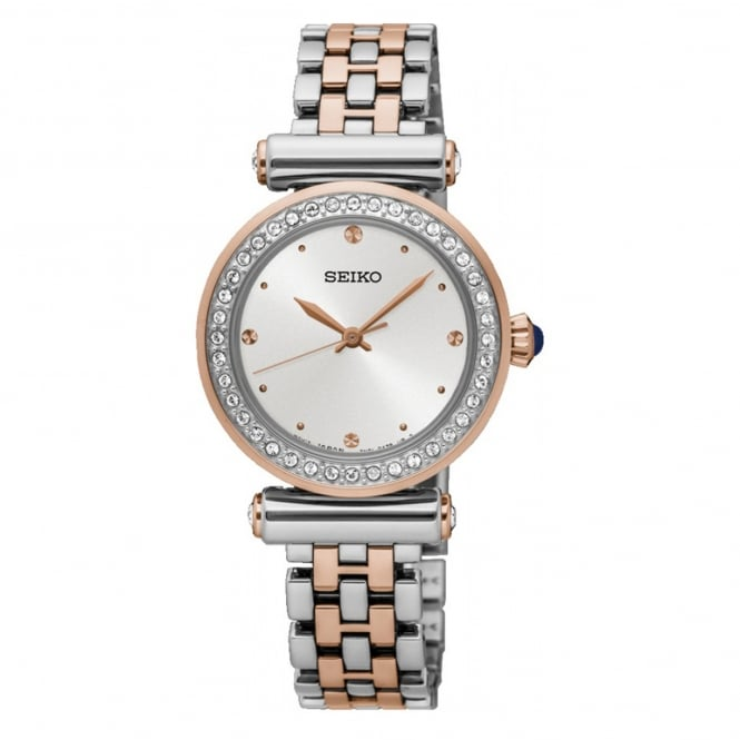 Seiko SRZ466P1 Swarovski Crystal Two Tone Ladies Dress Watch