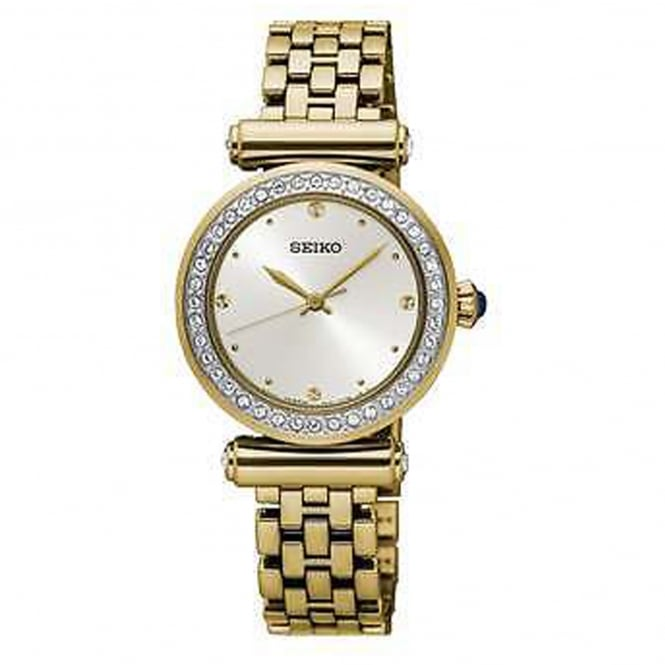 Seiko SRZ468P1 Swarovski Crystals Gold Ladies Dress Watch