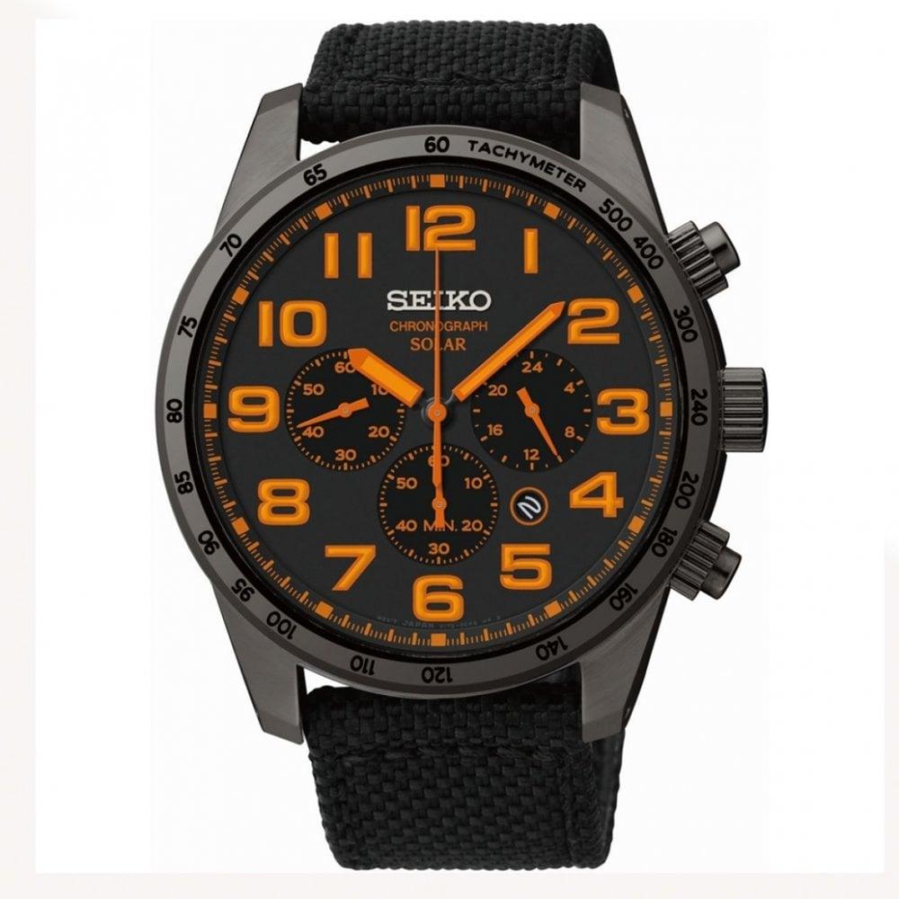 Seiko Ssc233 Gents Black And Orange Watch Seiko Solar Chronograph